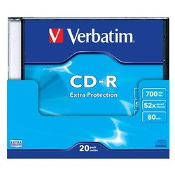 Диск CD-R Verbatim 700Mb 52x DataLife Slim (20 шт) (43348)