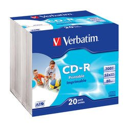 Диск CD-R Verbatim 700Mb 52x DataLife+Slim Case Printable (20 шт) (43424)