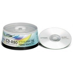 Диск TDK CD-R 700MB 52x Cake Box (25 шт) (T18767)