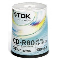 Диск TDK CD-R 700MB 52x Cake Box (100 шт) (T18773)