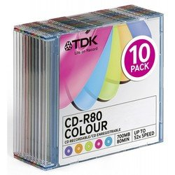 диск tdk cd-r colour 700mb 52x sjc (10 шт) (t18924) (cd-r80scmixa10-l)