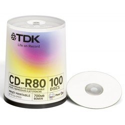 Диск TDK CD-R 700MB 52x Cake Box Printable (100 шт) (t19884) (CD-R80PWWCBA100-V)
