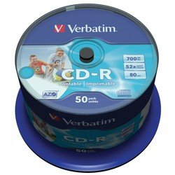 Диск CD-R Verbatim 700Mb 52x Wide Printable (50 шт) (43309)
