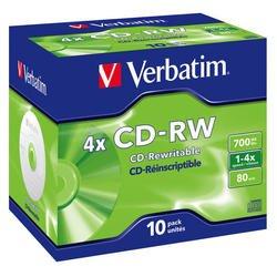 Диск CD-RW Verbatim 700Mb 2x-4x Jewel case (10 шт) (43123)