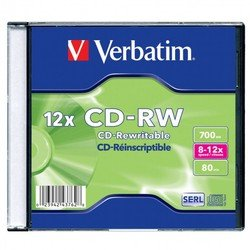 Диск CD-RW Verbatim 700Mb 8-12x Slim case (1шт) (43762)