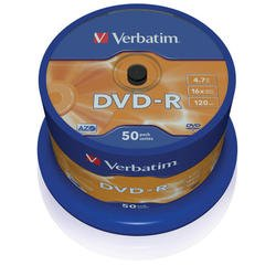 Диск DVD-R Verbatim 4.7Gb 16x Cake Box (50 шт) (43548)