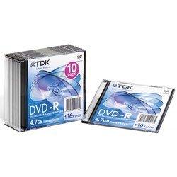 ���� TDK DVD-R 4.7Gb 16x Slim Jewel Case (10 ��) (t19420) (DVD-R47SCED10-L)