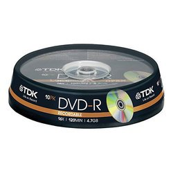 Диск TDK DVD-R 4.7Gb 16x Cake Box (10 шт) (t19415) (DVD-R47CBED100)