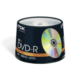 Диск TDK DVD-R 4.7Gb 16x Cake Box (50 шт) (t19417) (DVD-R47CBED50)