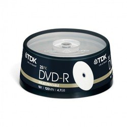 Диск TDK DVD-R 4.7Gb 16x Cake Box Printable (25 шт) (t19838) (DVD-R47PWCBED25)