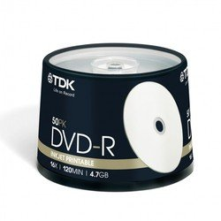 Диск TDK DVD-R 4.7Gb 16x Cake Box (50 шт) Printable (t19914) (DVD-R47PWCBED50)