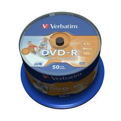 Диск DVD-R Verbatim 4.7Gb 16x Cake Box InkJet Printable (50 шт) (43533)