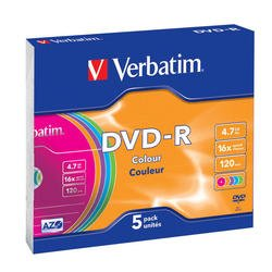 Диск DVD-R Verbatim 4.7Gb 16x Slim Color (5 шт) (43557)