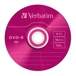 ���� ���� dvd-r verbatim 4.7gb 16x slim color (5 ��) (43557)