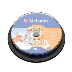 Диск DVD-R Verbatim 1.46Gb 4x 8cm Cake Box Printable (10 шт) (43573)