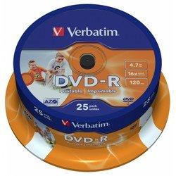 ���� DVD-R Verbatim 4.7Gb 16x Cake Box Printable (25 ��) (43538)