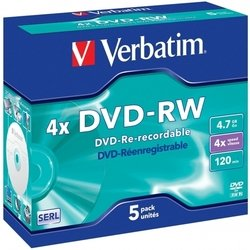���� dvd-rw verbatim 4.7gb 4x jewel case (5��) (43285)