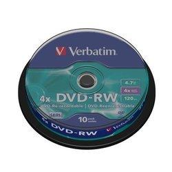 ���� DVD-RW Verbatim 4.7Gb 4x Cake Box (10��) (43552)