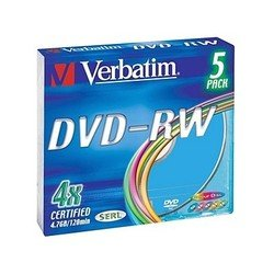Диск DVD-RW Verbatim 4.7Gb 4x Slim Color (5шт) (43563)