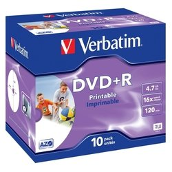 ��������� ���� dvd+r verbatim 4.7gb 16x jewel case printable (10��) (43508)