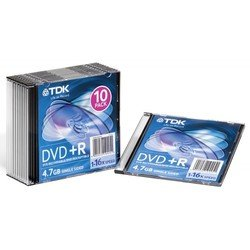 Диск TDK DVD+R 4.7Gb 16x Jewel Case (10 шт) (t19447) (DVD+R47SCED10-L)