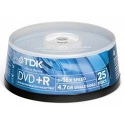Диск TDK DVD+R 4.7Gb 16x Cake Box (25 шт) (T19443)