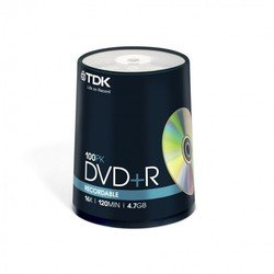 ���� TDK DVD+R 4.7Gb 16x Cake Box (100 ��) (t19504) (DVD+R47CBED100)