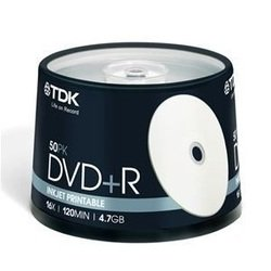 Диск TDK DVD+R 4.7Gb 16x Cake Box Printable (50 шт) (T19919-69) (DVD+R47PWWCBED50)