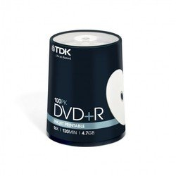 Диск TDK DVD+R 4.7Gb 16x Cake Box Printable (100 шт) (t19920) (DVD+R47PWWCBED100)