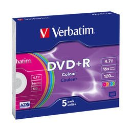 Диск DVD+R Verbatim 4.7Gb 16x Color Slim (5шт) (43556)