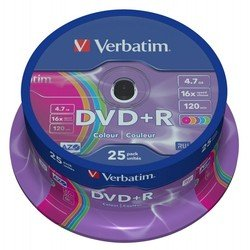 Диск DVD+R Verbatim 4.7Gb 16x AZO colour surface Cake Box (25шт) (43733)