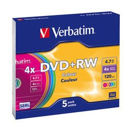 Диск DVD+RW Verbatim 4,7Gb 4x Slim Case Color (5шт) (43297)