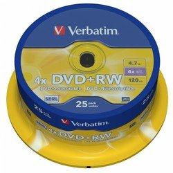 ���� DVD+RW Verbatim 4.7Gb 4x Cake Box (25��) (43489)