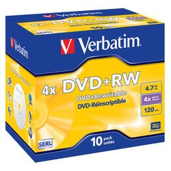 Диск DVD+RW Verbatim 4.7Gb 4x Jewel Case (10шт) (43246)