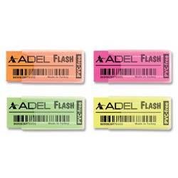 Ластик Adel Flash 227-0784-000 50х19.5х10мм ассорти (роз/оран/зел/желт) прозрачный пластиковый чехол