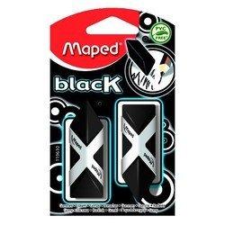 Ластик Maped Black Pyramide треугольной формы черный в картонном футляре новая формула 2 штуки