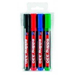 Набор маркеров Edding E330/4S перманент. скошенный пиш. наконечник 1-5мм 4 цв. (чер/син/кр/зел)