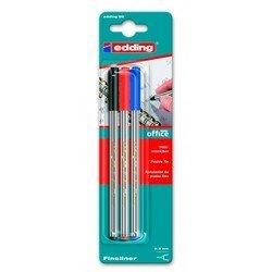 Набор ручек капиллярных Edding E89/3 3 цвета (черный/красный/синий)