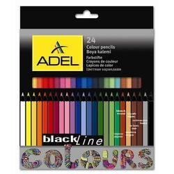Карандаши цветные Adel BlacklinePB 211-2362-000 чер. дерево 3мм 24цв. корпус цветной коробка/европ.