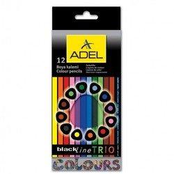 Карандаши цветные Adel BlacklinePB Trio 211-3312-000 трехгран. черное дерево 3мм 12 цв. корпус цвет.