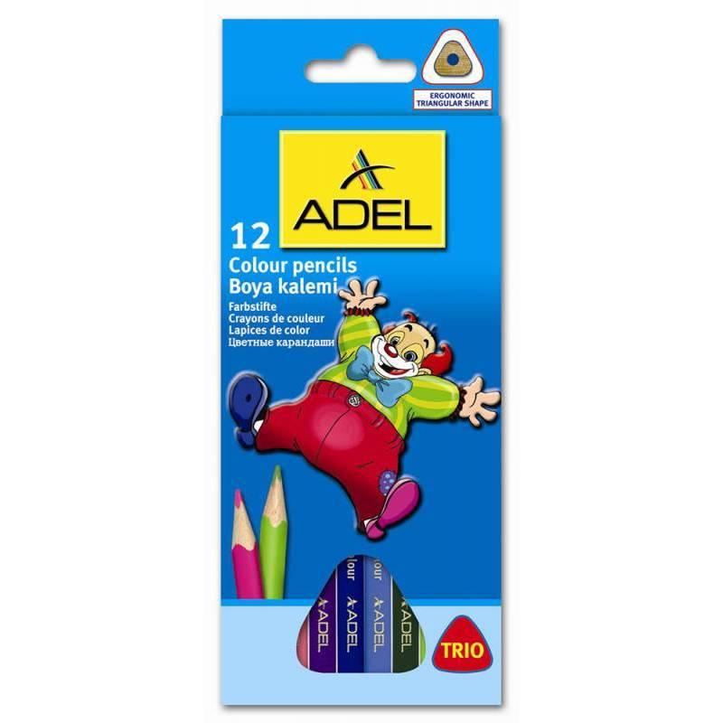 Карандаши цветные Adel Colour Triangular 211-3315-007 трехгранные 3мм 12 цв. карт. коробка/европод. - Цветной карандаш, мелок