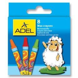Мелки восковые Adel 228-2814-000 круглые 10мм 8 цветов картонная коробка/европодвес