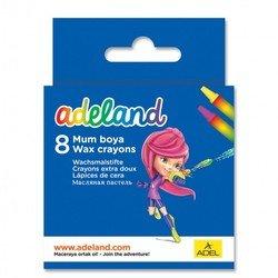 Мелки восковые Adel ADELAND 228-2814-100 круглые 10мм 8 цветов картонная коробка/европодвес