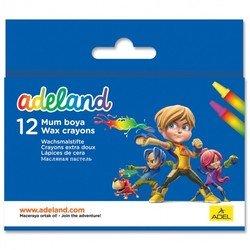 Мелки восковые Adel ADELAND 228-2834-100 круглые 10мм 12 цветов картонная коробка/европодвес