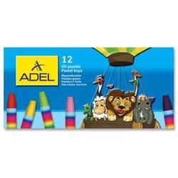 Мелки масляной пастели Adel 428-0837-000 шестигранные 11,5мм 12 цветов картонная коробка