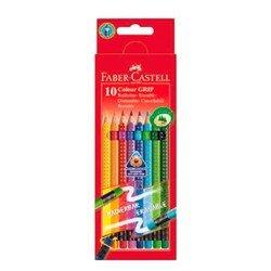 Карандаши цветные Faber-Castell Grip 2001 116613 с ластиками в картонной коробке 10 цветов