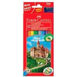 Карандаши цветные Faber-Castell Eco Замок 120112 с точилкой в картонной коробке 12 цветов