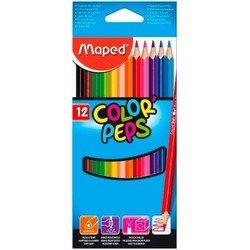 Карандаши цветные Maped Color&#39Peps из липы треугольные ударопрочный грифель в футляре 12 цветов