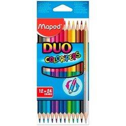 Карандаши цветные Maped Color&#39Peps из липы двусторонние треугольные ударопрочный грифель 24 цвета