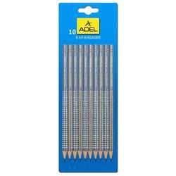 Карандаш чернографит. Adel ELEGANCE 205-1162-004 HB серо-стальной сереб/золот рисунок  (10шт)
